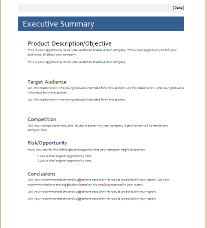 Microsoft Word Executive Summary Template. Template : Executive