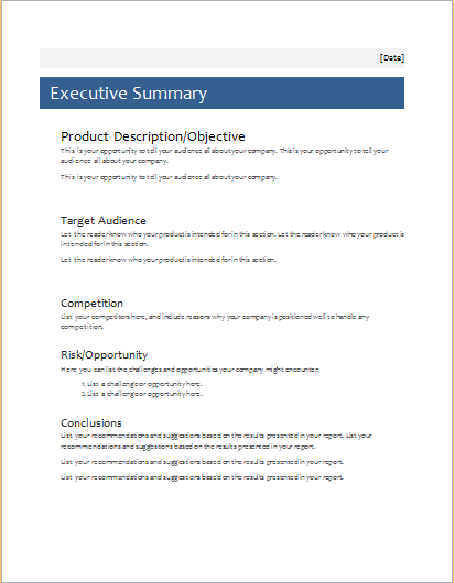 executive summary template for ms word