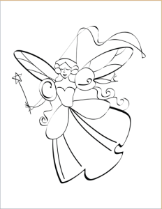Fairy design coloring page for kids