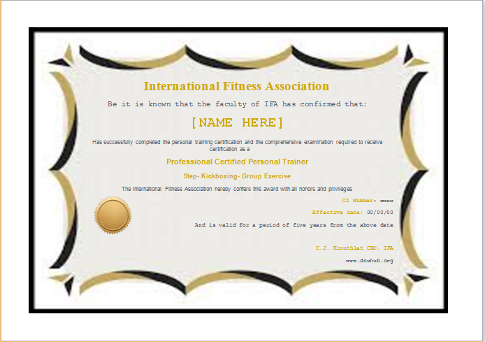 fitness certificate template