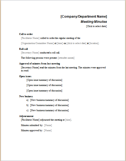 Formal Meeting Minutes Template  Business Meeting Minutes Template Word