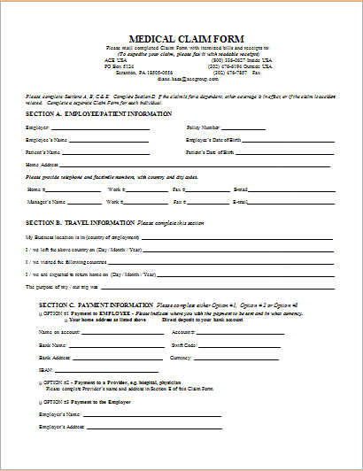 20 Medical Form LOGS sheets TEMPLATES – Medical Claim Form
