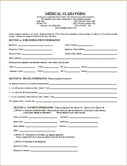 Medical Claim Form | 20 Medical Form Logs Sheets Templates Document Hub