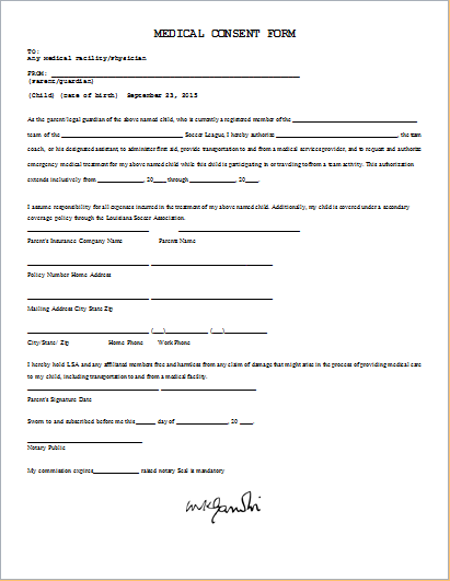 20 Medical Form LOGS sheets TEMPLATES – Child Medical Consent Forms