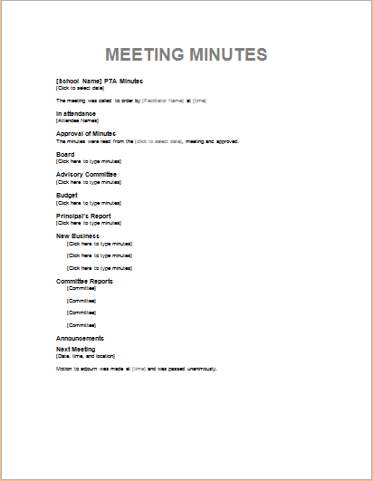 Professional meeting minute templates for ms word for Taking minutes in a meeting template