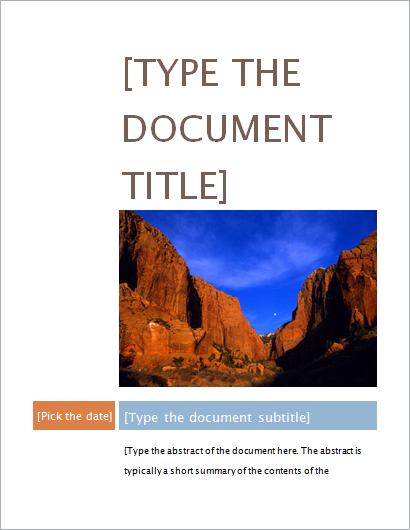 project cover page templates for ms word