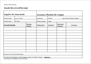 Proof Of Delivery Template  Delivery Document Template
