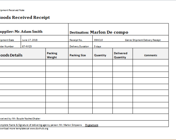 Delivery receipt template – Receipt Document Template