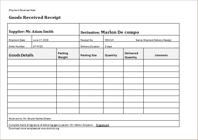 Proof Of Delivery Template  Proof Of Receipt Form