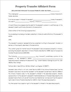 Property transfer affidavit form