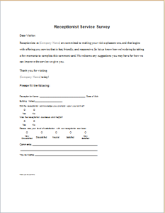 Receptionist Service Survey form
