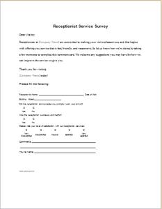 Receptionist Service Survey form