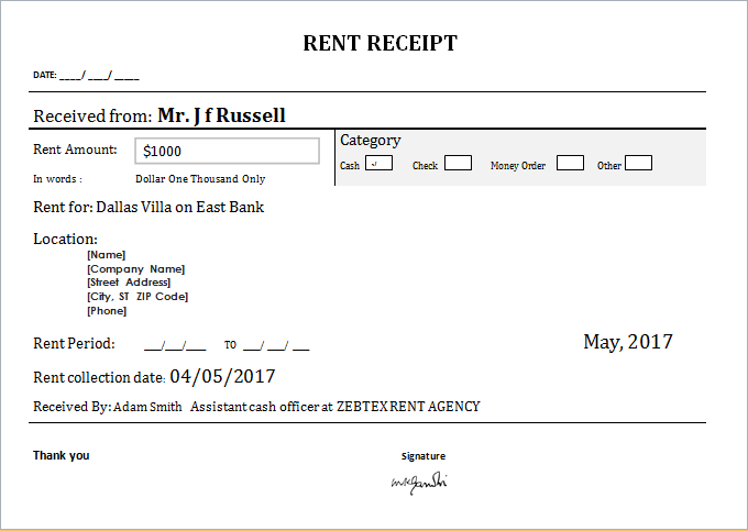 Customizable Rent Receipt Template for MS WORD – Rent Receipt Word