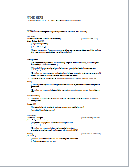 ms word customizable resume layout and templates