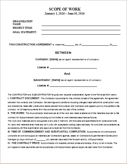 Scope of work templates for ms word document hub for Scope of services agreement template