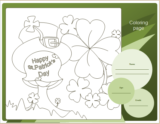 St. Patrick's day coloring sheet shamrock design