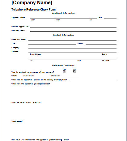 Telephone Reference Check Form Template – Reference Check Template