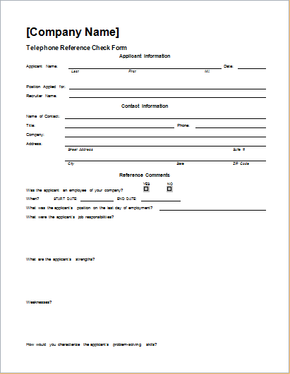 Telephone Reference Check Form Template WORD | Document Hub