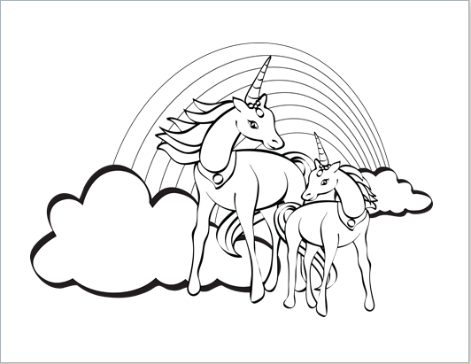 Unicorn design coloring sheet