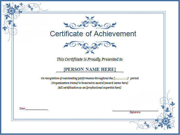 Winner Award Certificate Template  Ms Office Certificate Template