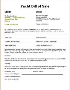 Yacht bill of sale