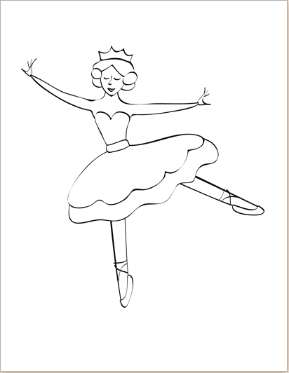 ballerina design coloring sheet