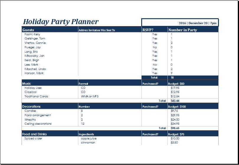 college list template