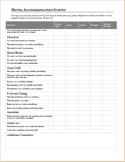 Hotel Accommodation Survey Form Template for WORD | Document Hub