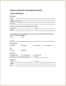 medical history and screening form