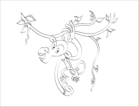 monkey design coloring sheet