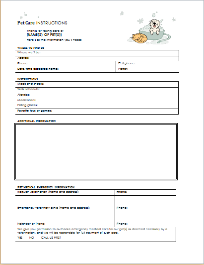 pet-care-instructions-form Vaccination Letter Template For Pet on