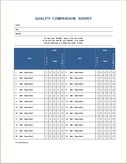 Nice Quality Comparison Survey Form With Comparison Template Word