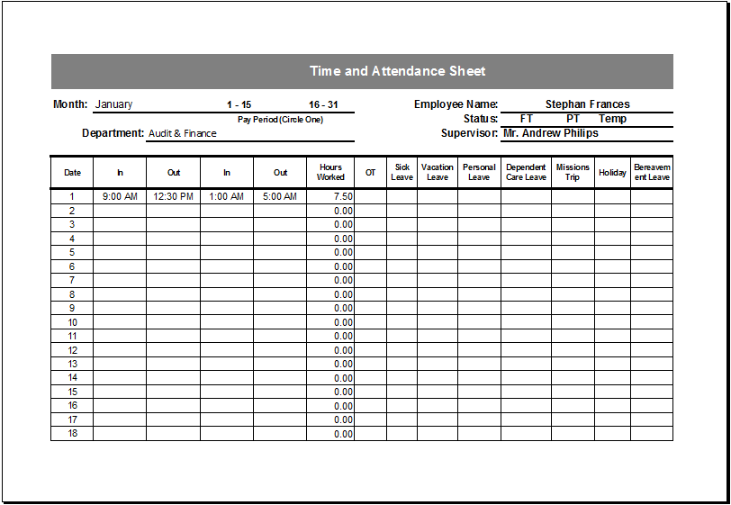 time and attendance sheet