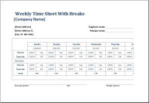 employee weekly time sheet with breaks