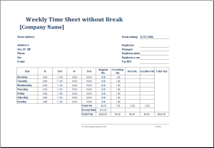 employee weekly time sheet without break