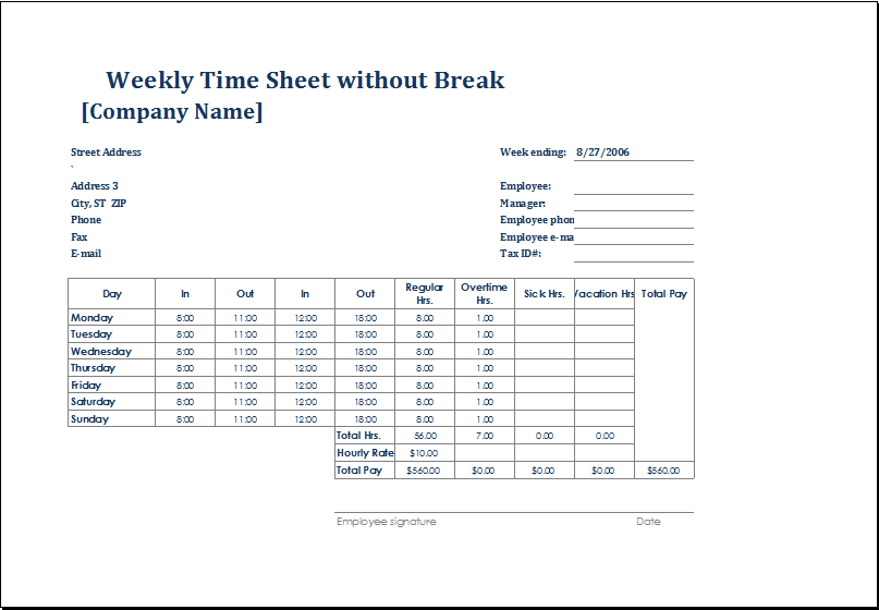 4 employee timesheet templates for excel
