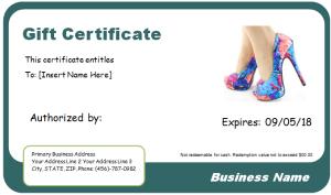 Shoe shopping gift certificate
