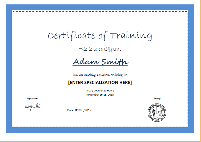 Great Certificate Of Training Template
