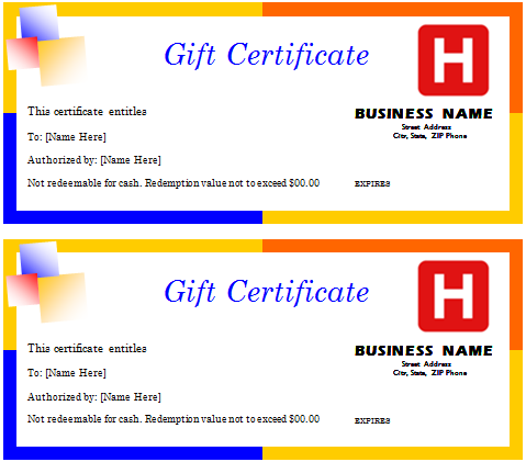 Travel Gift Certificate  Gift Certificate Samples