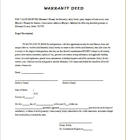 Guarantee Deed Form