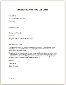 Invitation Letter for a Car Demo