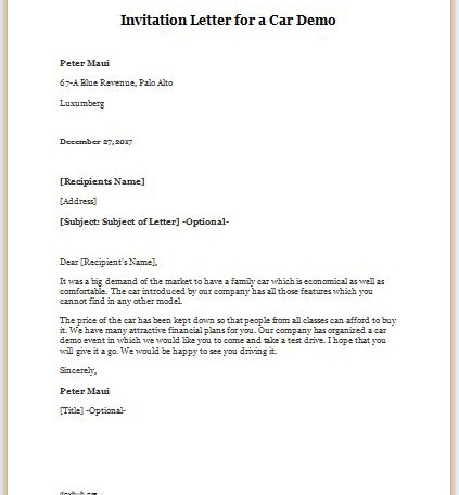 Invitation Letter for a Car Demo