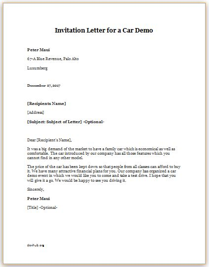 Invitation Letter For A Car Demo Template | Document Hub