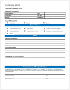 Employee behavior complaint form