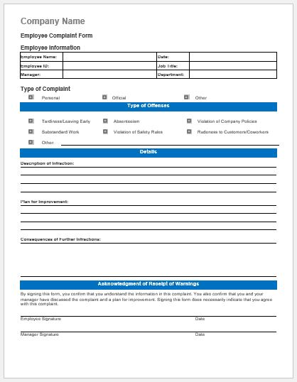 Employee Behavior Complaint Form Ms Word  Document Hub