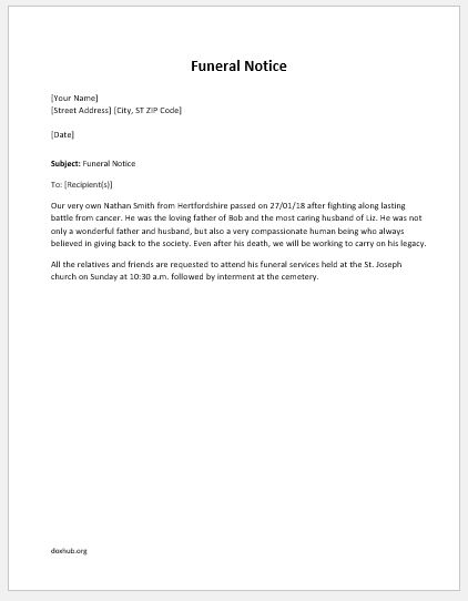 Funeral Notice Template For Ms Word  Document Hub