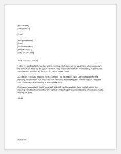 Apology Letter for Coming Late in Office Meeting