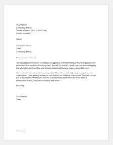 Appreciation Letter to an Employee for Suggestion