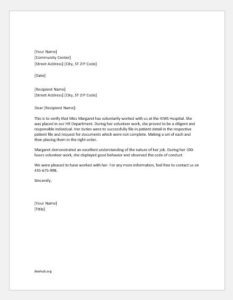 Community Service Completion Letter