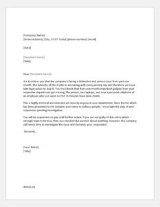 Employee Service Suspension Letter